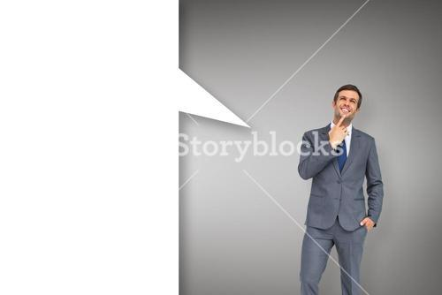Thinking businessman with speech bubble