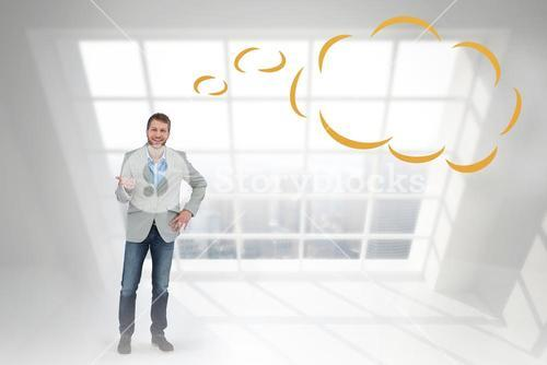 Composite image of stylish man smiling and gesturing with thought bubble