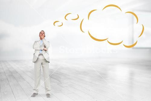 Composite image of thinking businessman with thought bubble