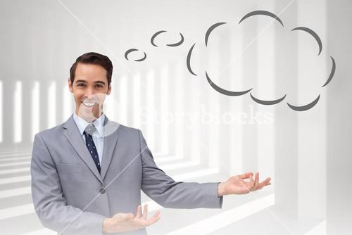 Composite image of young businessman presenting something with thought bubble