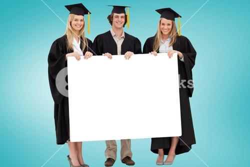 Composite image of college graduates showing card