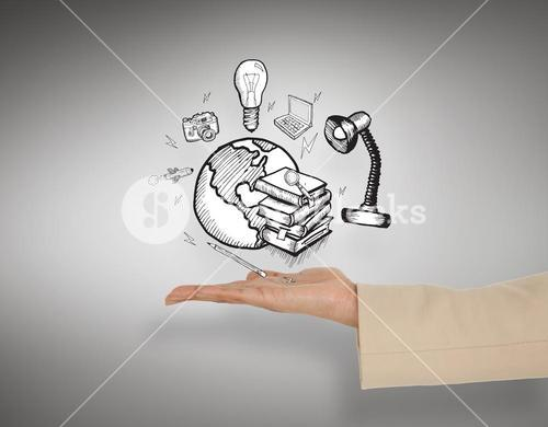 Composite image of female hand presenting global education graphic