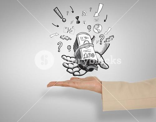 Composite image of female hand presenting money in hand