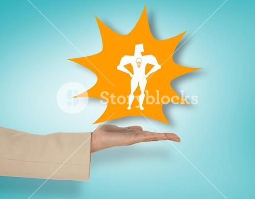 Composite image of female hand presenting superhero