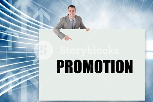 Businessman showing card saying promotion