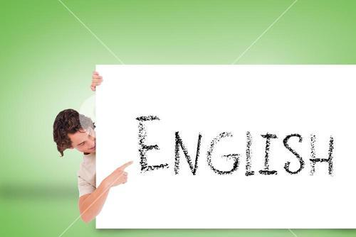 Handsome young man showing card with english