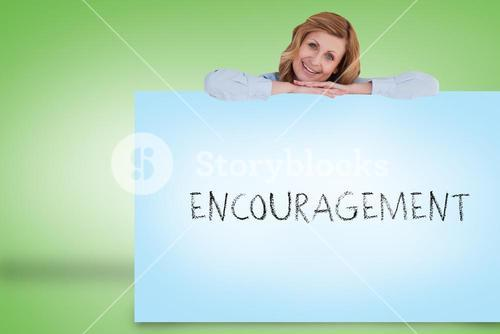 Businesswoman showing card with encouragement