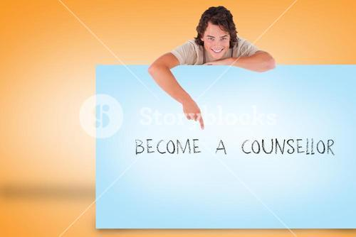 Handsome young man showing card with become a counsellor