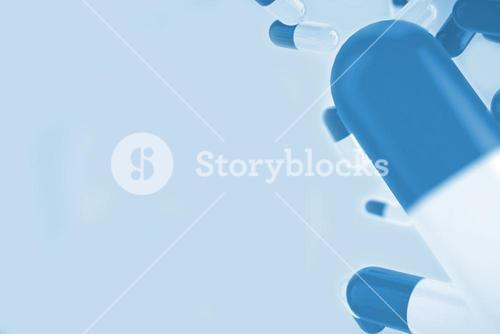 Blue medical background with pills