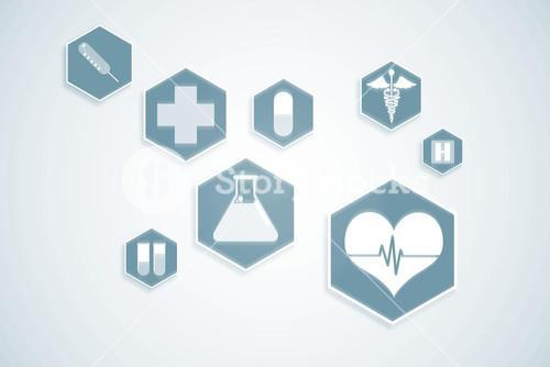 Blue medical interface with icons
