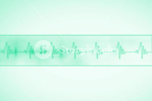 Green medical background with ecg line