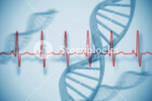 Blue medical background with dna and ecg