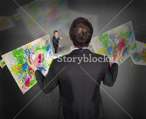 Composite image of gesturing businessman with tiny businessman