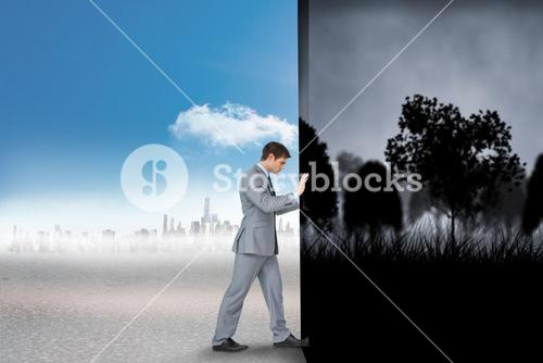 Composite image of businessman changing scenes