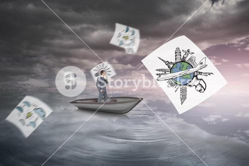 Composite image of thinking businessman in a sailboat