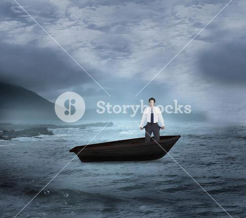 Composite image of sad tradesman showing his empty pockets in a sailboat