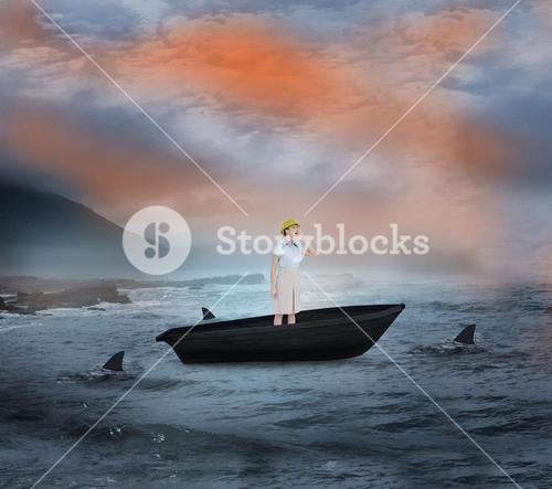 Composite image of attractive architect yelling in a sailboat