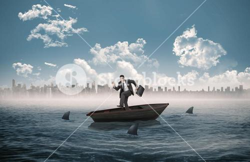 Composite image of happy businessman in a sailboat