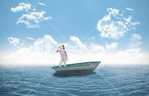 Composite image of young female yelling in a sailboat