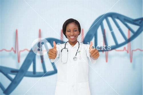 Composite image of young nurse giving thumbs up