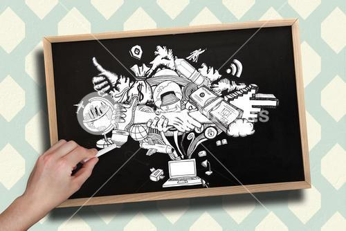 Composite image of hand drawing computing graphic with chalk