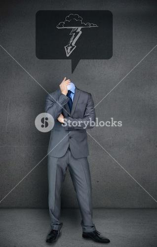 Headless businessman with lightning in speech bubble