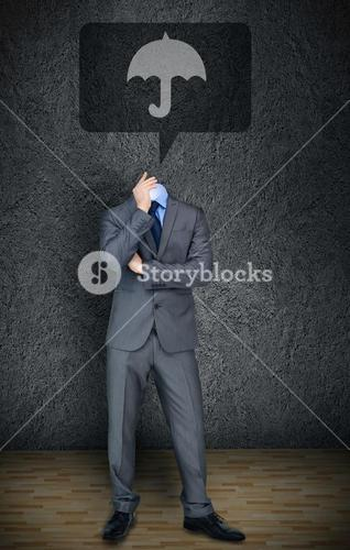 Headless businessman with umbrella in speech bubble