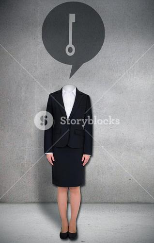 Headless businesswoman with key in speech bubble