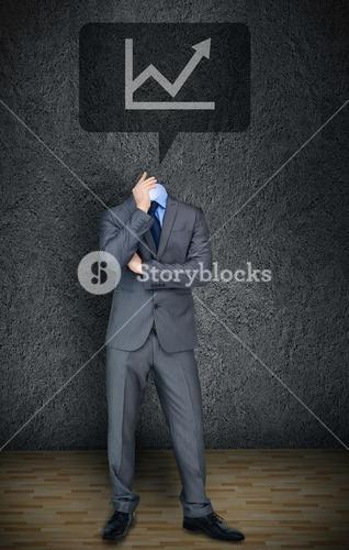 Headless businessman with graph in speech bubble