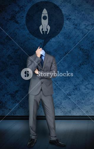 Headless businessman with rocket in speech bubble