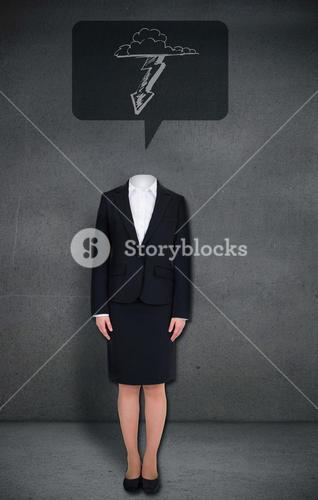 Headless businesswoman with lightning in speech bubble
