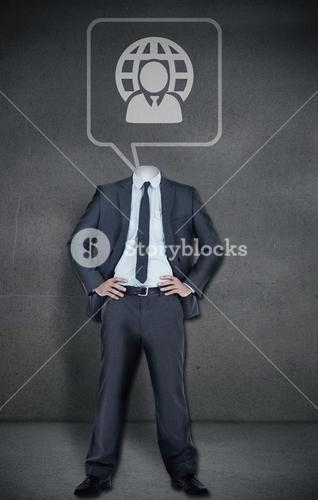 Headless businessman with speech bubble