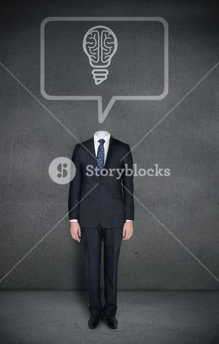 Headless businessman with brain light bulb in speech bubble