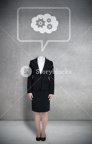 Headless businesswoman with cogs in speech bubble