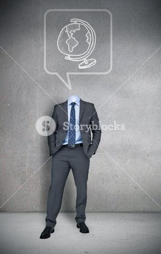 Headless businessman with globe in speech bubble