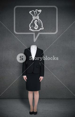 Headless businesswoman with money bag in speech bubble