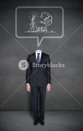 Headless businessman with idea concept in speech bubble