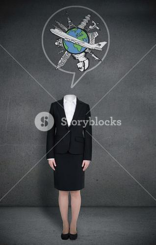Headless businesswoman with globe in speech bubble