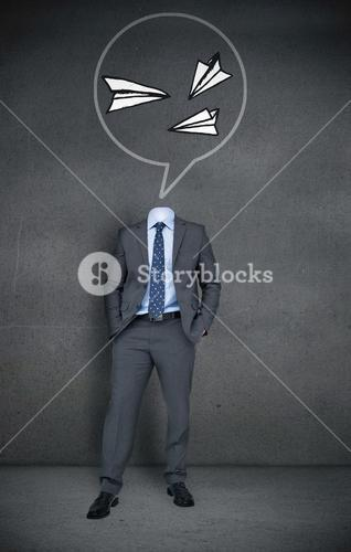 Headless businessman with paper airplanes in speech bubble