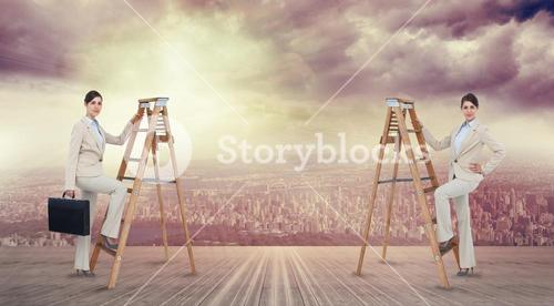 Composite image of multiple image of businesswoman climbing ladder