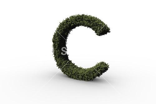 Capital letter c made of leaves