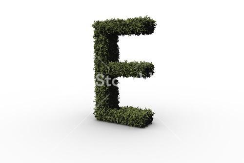 Capital letter e made of leaves