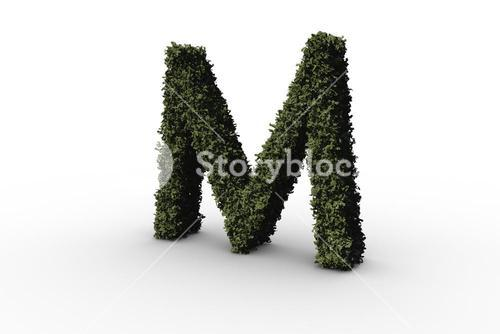 Capital letter m made of leaves