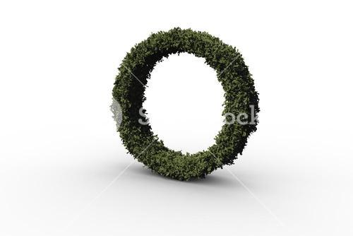 Capital letter o made of leaves