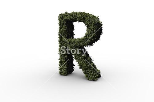 Capital letter r made of leaves