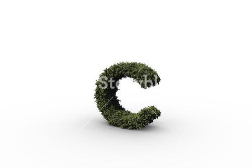 Lower case letter c made of leaves