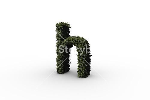 Lower case letter h made of leaves