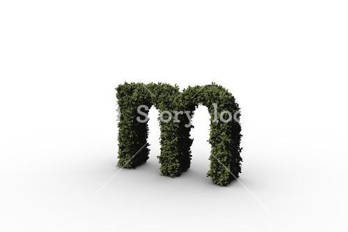 Lower case letter m made of leaves