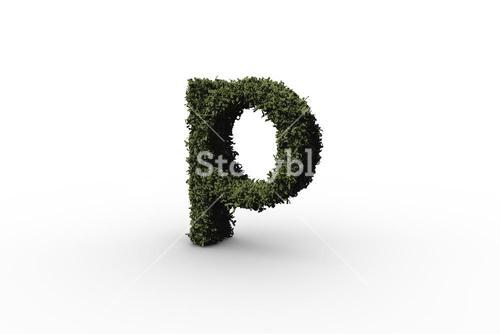 Lower case letter p made of leaves