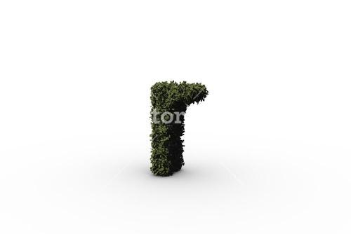 Lower case letter r made of leaves